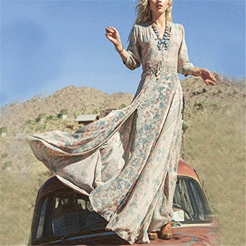 hsn_zen Women Summer Vintage Boho Long Maxi Dress Evening Party Beach Floral Sundress US (S, -