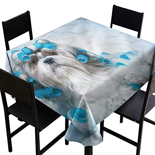 home1love Dog Lover Spillproof Tablecloth Shih Tzu Dog Grooming Table Cover for Dining 70 x 70 Inch