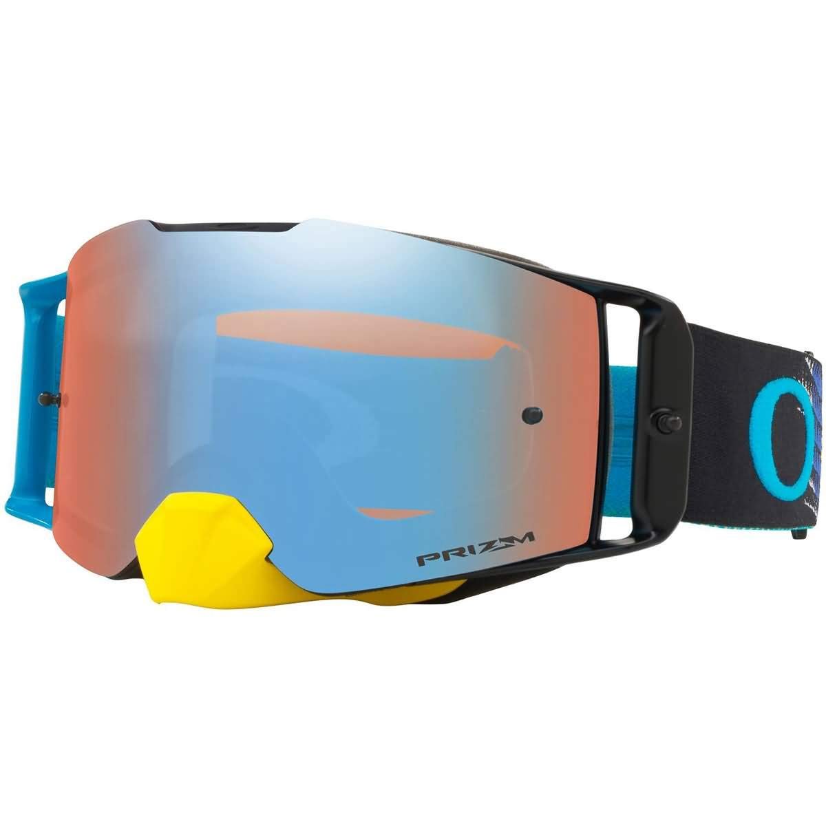 Oakley Front Line MX Adult Off-Road Motorcycle Goggles - Dissolve Yellow Blue/Prizm Sapphire