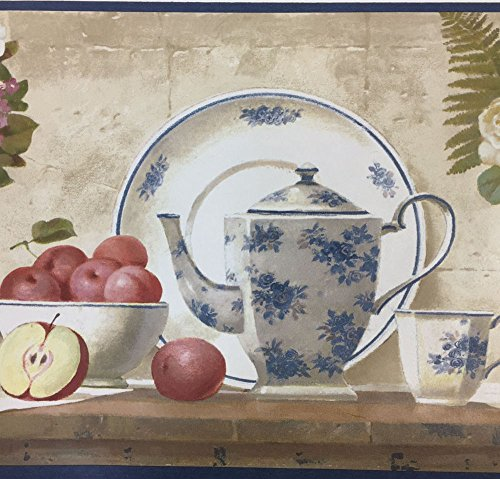 Wallpaper Border with Vintage China, Fruit and Flowers on a shelf Waverly no. - Wallpaper Waverly Vintage