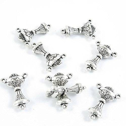 Qty 20 Pieces Antique Silver Tone Jewelry Making Supply Charms Findings L2DV1 Trophy Connector ()
