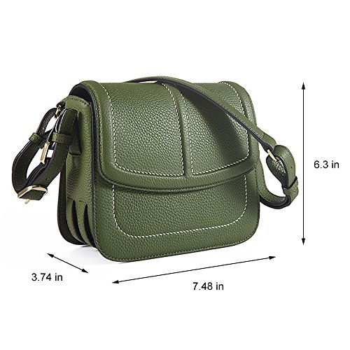 Small Cowhide Pattern Hand Bags Leather for Bags Tote Shoulder Green Flap Women Bag Lichee Genuine ZIqrZT