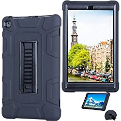 Amazon Kindle Fire HD 8 (2017 7th Gen)Case, AICase 3 in 1 Three Layer Hybrid Rugged Heavy duty Shockproof Full Body Protective Cover for All-New Amazon Kindle Fire HD 8'' (Dark Blue/Lemon yellow)