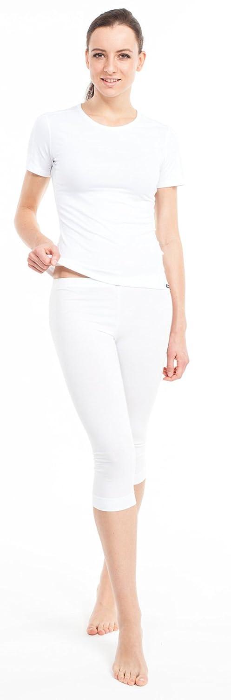 Thermo Unterwäsche Set für Damen - Damen Dryarn Thermo Funktionswäsche Skiunterwäsche Set (1/2 Shirt + 3/4 Hose) weiss