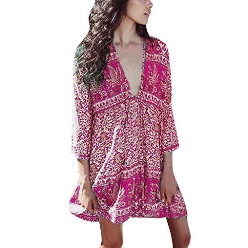 ☀️EDC Women's Bohemia Floral Printed Dresses Summer Oversize 3/4 Sleeve V Neck Casual Loose Beach T-Shirt Short Mini Dress (Purple, L)