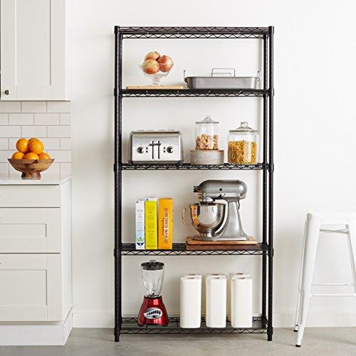 amazonbasics 5 shelf shelving unit black import it all. Black Bedroom Furniture Sets. Home Design Ideas