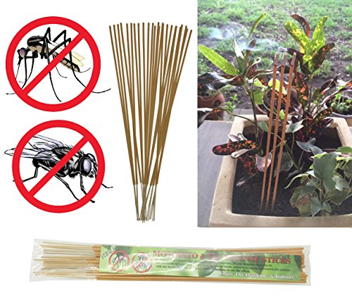 All-natural Mosquito and Fly Repellent Incense Sticks - Citronella, Rosemary, Thyme, Brazilian Andiroba Oil - 30 Count Scented Sticks (Yellow) (Watch Tower Candle Lantern)