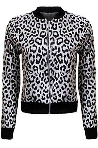 Sapphire de Mujer Estampado Leopardo Corto Damas Bombardero Cremallera Nuevo Chaqueta estampado leopardo