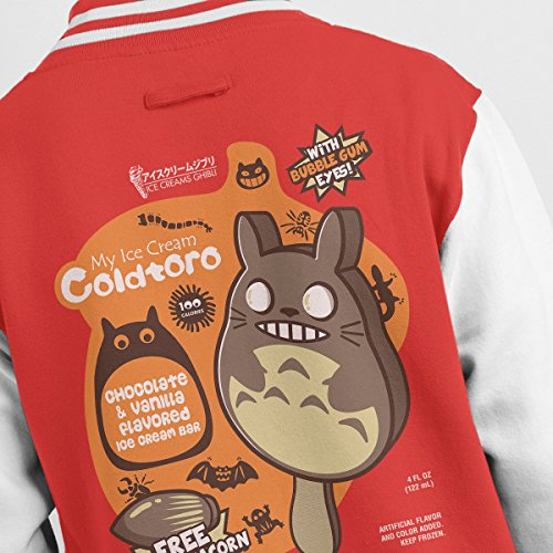 Varsity Jacket Icecream Men's Totoro My Red white Coldtoro Neighbor YXqYfO