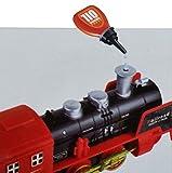 Haktoys Classical Radio Control R/C Train Set with Real Smoke, LED Lights, Sound and Bonus Figurine Pack
