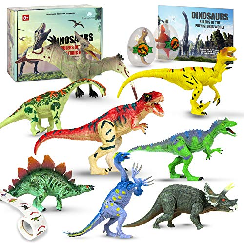 Athena Futures Dinosaur Toys [16 Items] Dinosaurs Toys for Boys Girls of All Ages Jurassic Age Park with T Rex, Raptor, Egg, Book, Stickers - All in This Play Set (6 Dinosaurs)