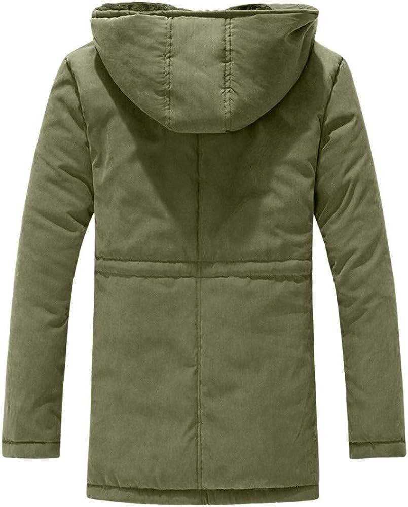 TAGGMY Jacket Men Fashion Winter Pure Color Hoodie Medium Length Thicker Velvet Cotton Coat Outwear Tops Black Blue XXL