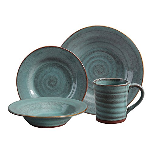 Gibson Elite Mariani Double Reactive Glaze 16 Piece Dinnerware Set, Teal