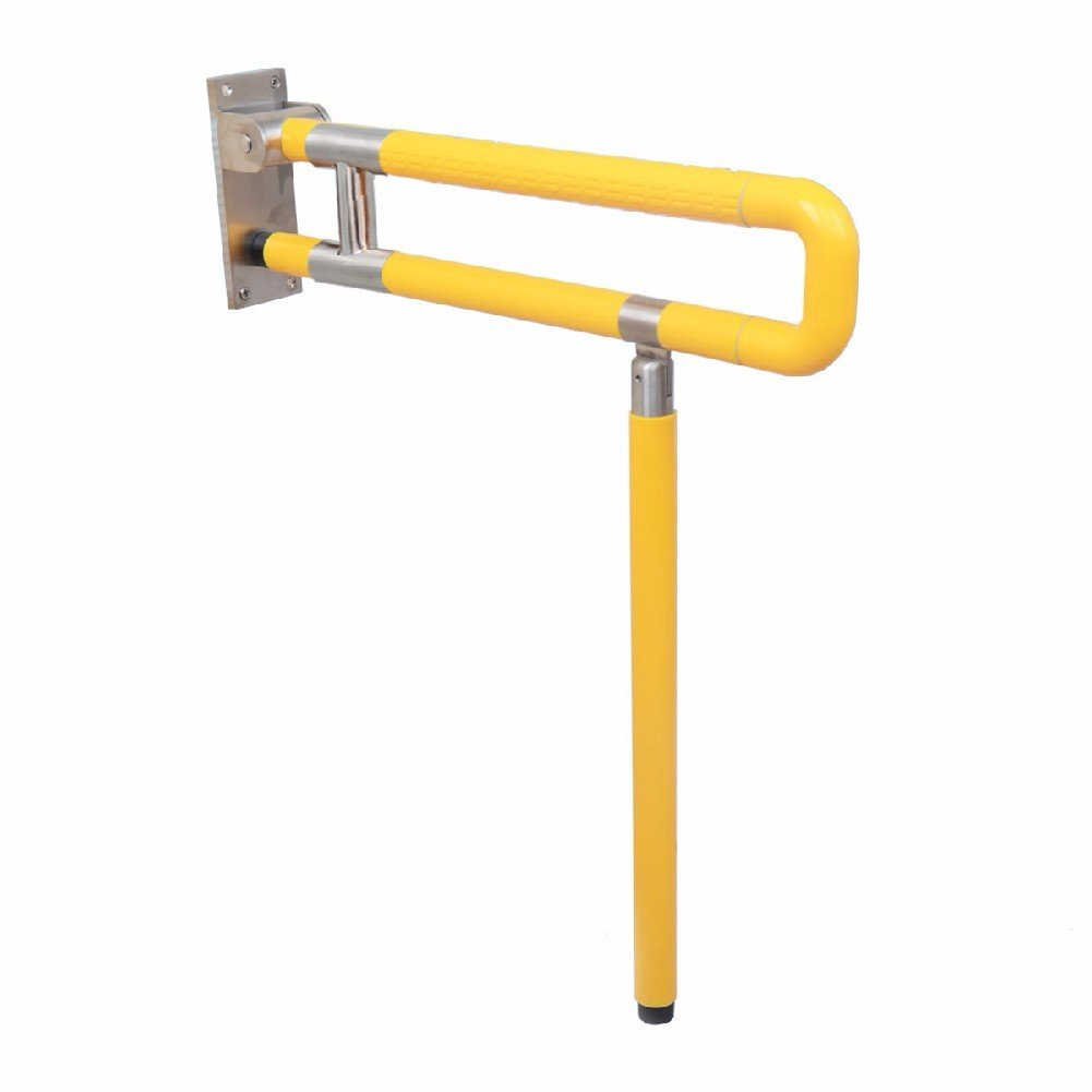 WAWZJ Handrail Barrier Free Nylon Handrail Disabled Person Bathroom Bathroom Stainless Steel Folding Armrest,60Cm,Yellow by WAWZJ-Handrail