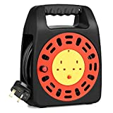 SIMBR Cable Reel 13A Extension Lead Reel with Thermal Cut-Out, Black (15m)