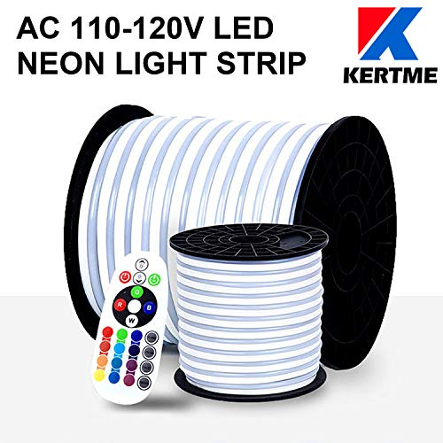 KERTME Neon Led Type AC 110-120V LED NEON Light Strip, Flexible/Waterproof/Dimmable/Multi-Colors/Multi-Modes LED Rope Light + 24 Keys Remote for Home/Garden/Building Decoration (16.4ft/5m, RGB) by KERTME (Image #1)