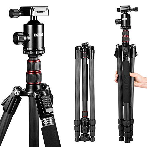Carbon Fiber Tripod - ESDDI 78 inches/198cm Camera Tripod with Monopod 360 Degree Ball Head,1/4