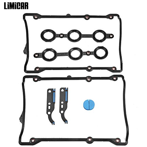 (LIMICAR Valve Cover Gasket with Engine Timing Chain Tensioner Gasket Set For 98-05 Volkswagen Passat V6 2.8L 98-01 Audi A4)