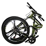 Kingttu EURG6 Mountain Bike 26 Inches 3 Spoke Wheels Dual Suspension Folding Bike 21 Speed MTB Bicycle Army Green