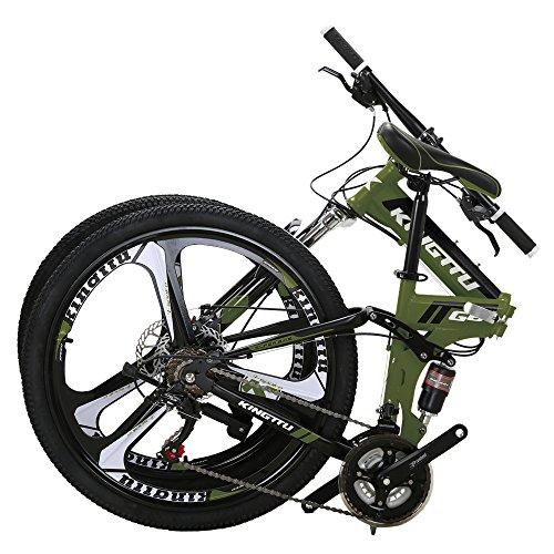 Kingttu EURG6 Mountain Bike 26 Inches 3 Spoke Wheels Dual Suspension Folding Bike 21 Speed MTB...