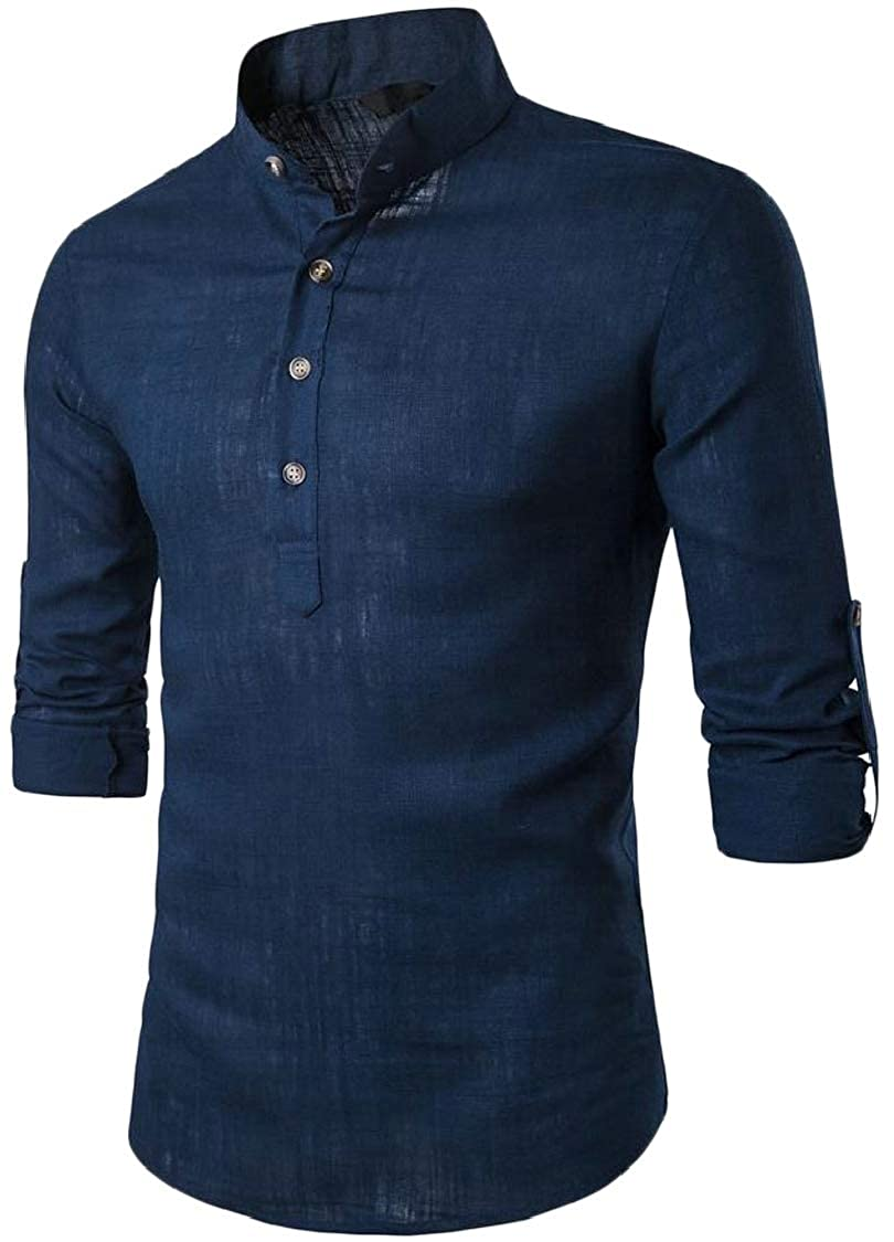 Lutratocro Mens Linen Casual Button Stand Neck Roll Sleeve Top Tee T-Shirts