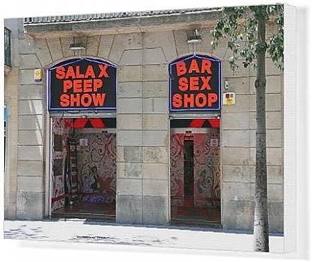 Cuadros en lienzo de sexo shop puerta y firmar sobre La Rambla, Barcelona, España: Amazon.es: Hogar