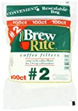 2 paper cone coffee filters - Brew Rite #2 Cone Coffee Filters, White Paper, 100-Count Bags (Pack of 8)