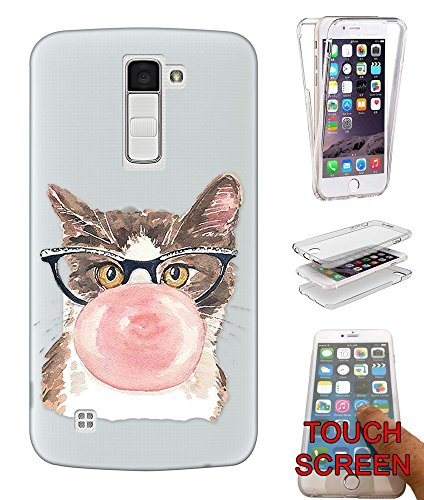 c00317 - Cool Fun Cute Illustration Cat Kitten Feline Nerd Glasses Bubblegum Love Design LG K8/V3 2017 Fashion Trend CASE Gel Rubber Silicone Complete 360 Degrees Protection Flip Case Cover