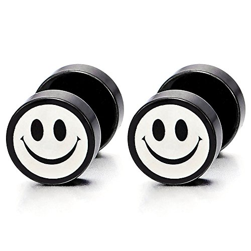 2 Black White Smiling Face Stud Earrings for Men Women, Cheater Fake Ear Plug Gauges Illusion Tunnel -
