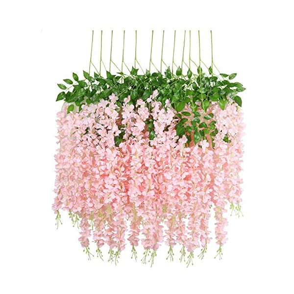 U'Artlines 12 Pack 3.6 Feet/Piece Artificial Fake Wisteria Vine Ratta Hanging Garland Silk Flowers String Home Party Wedding Decor Extra Long and Thick (12, Light Pink)