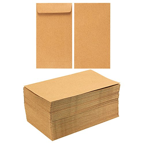 Seed Paper Business Card - Juvale 100-Pack of Coin Envelopes - Small Kraft Money Envelopes, for Currency Exchange, Business Use, Personal Gift-Giving, Brown - 3.5 x 6.5 Inches