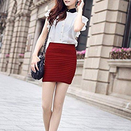Rouge Jupe A Jupe Haute Jupe Courte Oudan Mini Line Moulante Hanche Retro Femme Package Fonc Taille qxSTTY68