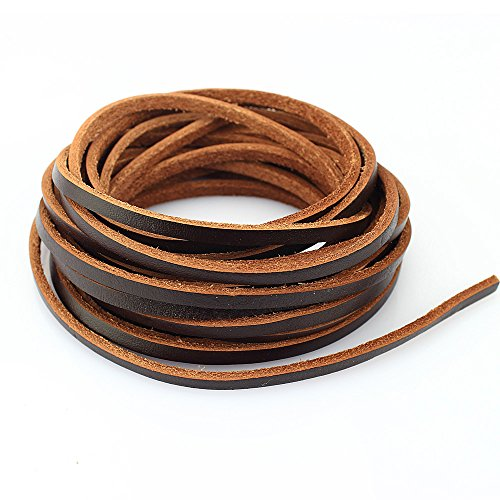 LolliBeads Heavy Duty Strong 4 mm Genuine Leather Cord Braiding String for Jewelry Making Craft DIY Assorted Color Dark Brown 5 Meters (5+ Yards) Leather Braiding Supplies