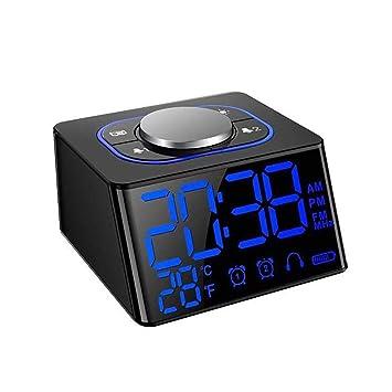 Nishci LED Escritorio Despertador Despertador Radio Despertador con Radio FM Termómetro Digital con repetición USB Dual Radio FM Dimmer: Amazon.es: Hogar