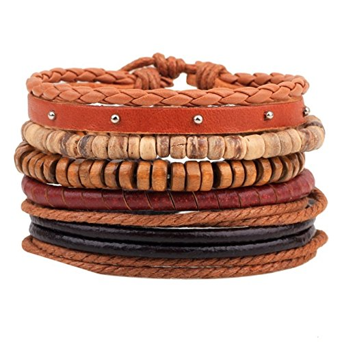 Prettychic 5pcs/set Unisex Braided Adjustable Leather Bracelet Punk Jewlery Cuff