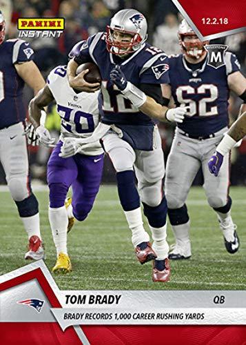 England Patriots Record New (2018 Panini Instant NFL Football #123 Tom Brady New England Patriots Records 1,000 Career Rushing Yards Print Run 107)