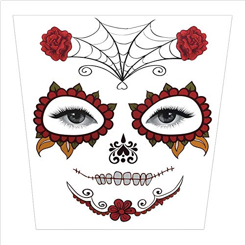 Weite Facial Skull Temporary Tattoo, Makeup Stickers Masquerade Day of The Dead Skull Stickers Halloween Terror Scar Wound Tattoo Kit for Women Men (A)
