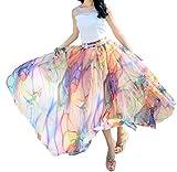 Afibi Women Full/Ankle Length Blending Maxi Chiffon Long Skirt Beach Skirt (Small, Design N(7))
