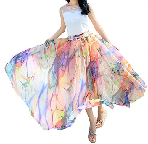 Afibi Women Full/Ankle Length Blending Maxi Chiffon Long Skirt Beach Skirt (Large, Design - Embroidered Pleated Skirt Hem