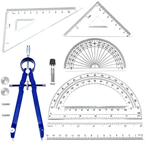Geometry School Set,with Quality Compass, Set Squares, Protractor,Drawing Compass Math Geometry Tools (6 pcs ()