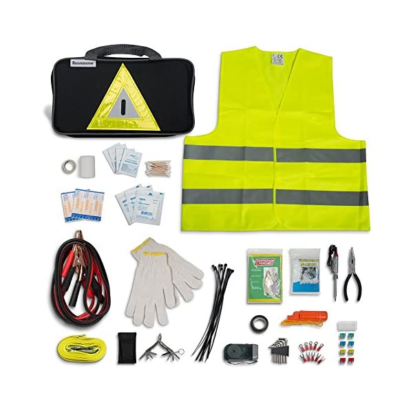 Roadside Emergency Kit Includes  First Aid Kit Jumper Cables Tow Rope And Many Other Supplies  106 Pieces For Assistance With Most Roadside Emergencies