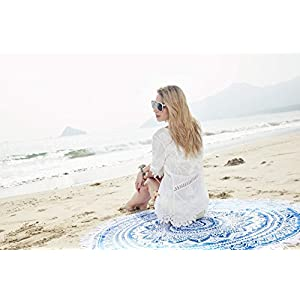Popular Handicrafts Round Beach Throw - Mandala Tassel Fringe Tapestry, Yoga Mat, Picnic Mat , Table throw, Table Cloth, Picnic Blanket Shawl,Best Choice for Beach Travel and Home Decor (Blue)