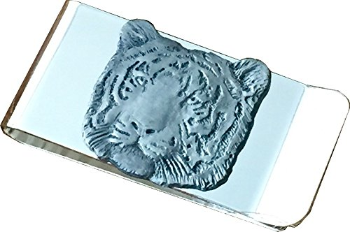 Chrome Polished Money Clip with Pewter Tiger Emblem
