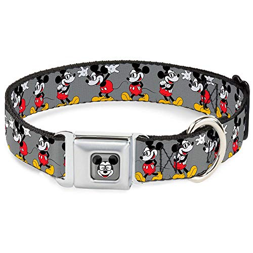 Buckle-Down Seatbelt Buckle Dog Collar - Mickey Mouse w/Glasses Poses Gray - 1