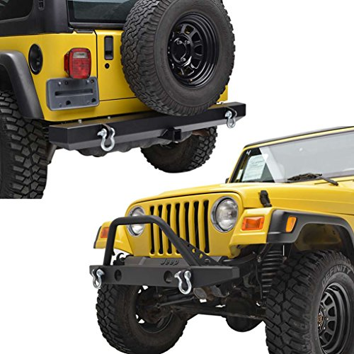 E-Autogrilles Jeep TJ YJ Wrangler Front Bumper and Rear Bumper with 2 Inch Hitch Receiver Combo