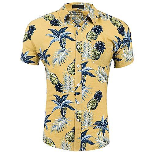 CATERTO Men's Pineapple Prints Casual Short Sleeve Aloha Hawaiian Shirt Yellow M ()
