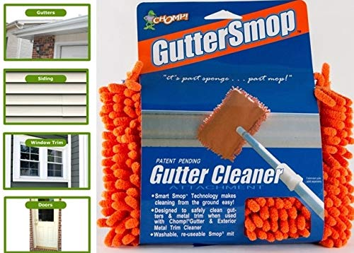 CHOMP Microfiber Gutter Cleaner Tool: Ultimate Gutter Cleaning Smop for All Types of Rain Gutters, Siding and Metal Trim - Instantly Clean Black Streaks, Mold, Mildew, Algae, Dirt and ()