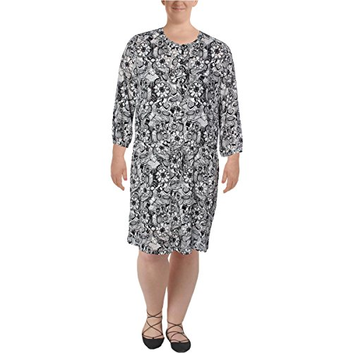 NYDJ Women's Lauren Shirt Dress With Detachable Fit Solution, Fleetwood Floral Black, X-Large