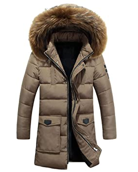 Runyue Hombre Chaqueta Plumas De Invierno Larga Cálido Casual Abajo Abrigo con Capucha Khaki S