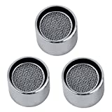 KES Utility and Kitchen Faucet Replacement Part 22mm Female Threaded Brass Housing Aerator with Gasket 3 PCS PACK, Polished Chrome, PA2A-P3